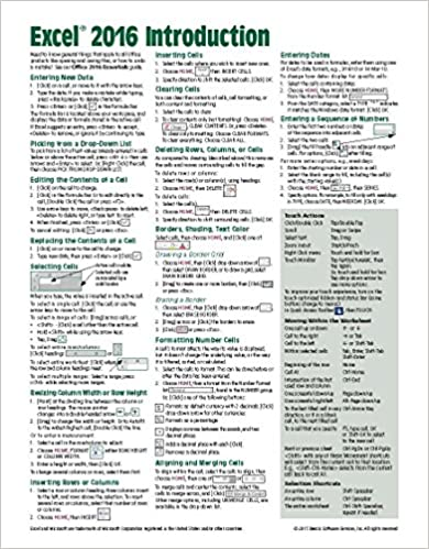 =BEST= Microsoft Excel 2016 Introduction Quick Reference Guide - Windows Version (Cheat Sheet Of Instructions, Tips & Shortcuts - Laminated Card). Compra Reserva using national Model