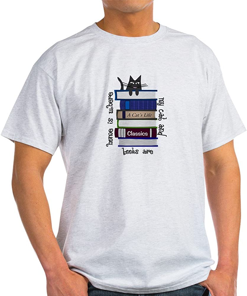 CafePress Home is Where cat and Books are Cotton T-Shirt