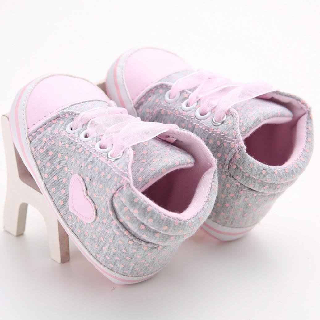 Lanhui Baby Girl Canvas Shoes Heart Shape Sneaker Anti-Slip Fashion Dance
