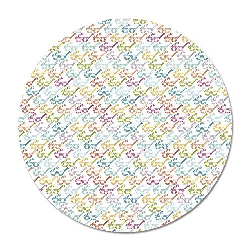 Indie Round Door Mat 23.6 Inches,Colorful Pattern with Classical Old Fashioned Eyeglasses Nerd Smart Hipster Doodle for Living Room Bedroom,23.6''Round