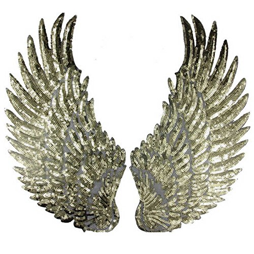 Large Angel Wings Sequin Patches Iron on Sew on Appliques Embroidered Motif for DIY Clothes ()