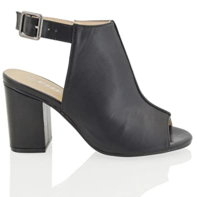 6009ddf0826 ESSEX GLAM New Womens Mid Block Heel Peep Toe Open Back Ladies Back Strap  Ankle Boots Shoe: Amazon.co.uk: Shoes & Bags