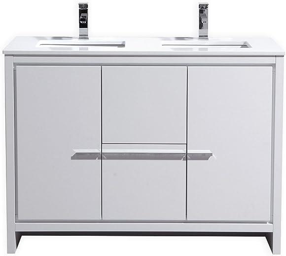 KubeBath Dolce 48 Double Sink High Gloss White Modern Bathroom Vanity
