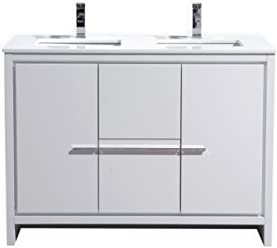 KubeBath Dolce 48″ Double Sink High Gloss White Modern Bathroom Vanity with White Quartz Counter