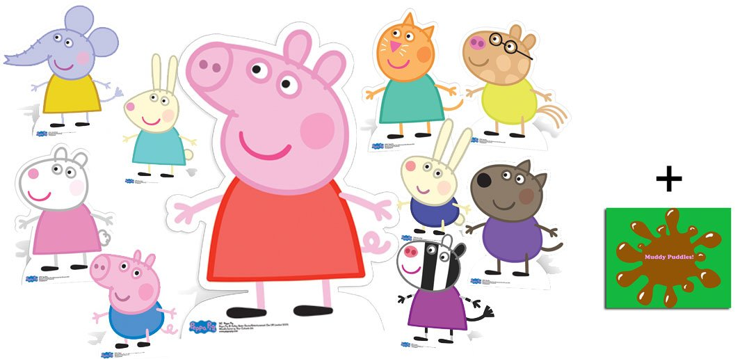 Fan Pack - Peppa Pig and Friends Lifesize Cardboard Cutout Collection - Set Of 10 - Includes 8x10 Star Photo by BundleZ-4-FanZ Fan Packs