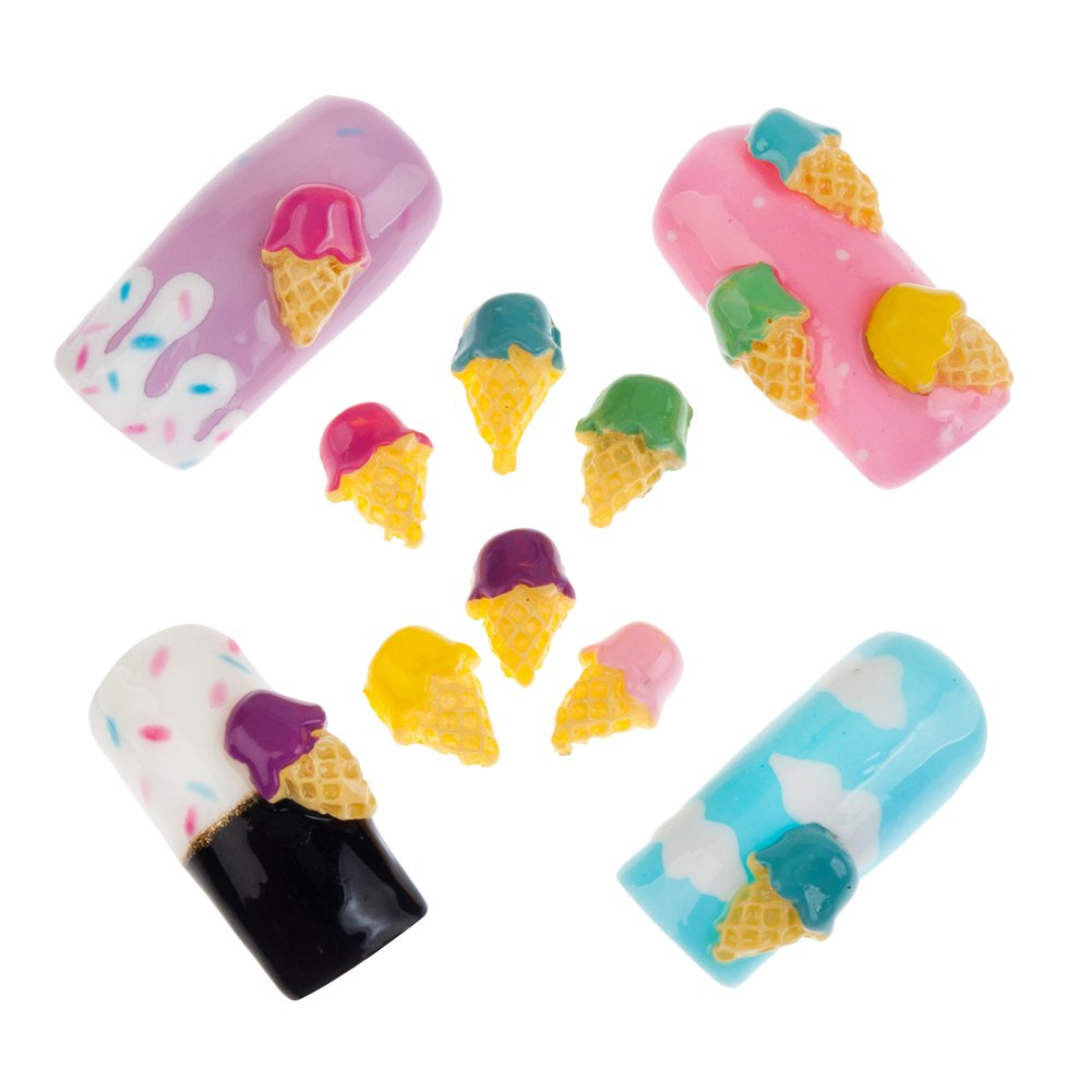 18 Ice Creams Cones Gelato Coloured Nail Art Decorations Jewels Gems By VAGA®