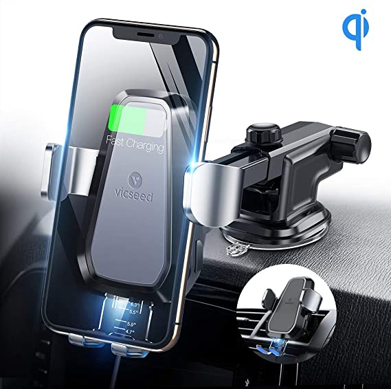 Wireless Car Charger Air Vent Auto Clamping Qi Fast Charging Mount Car Phone Holder Dashboard Compatible with Galaxy s9s9 Pluss8s8 Plus S7s6,