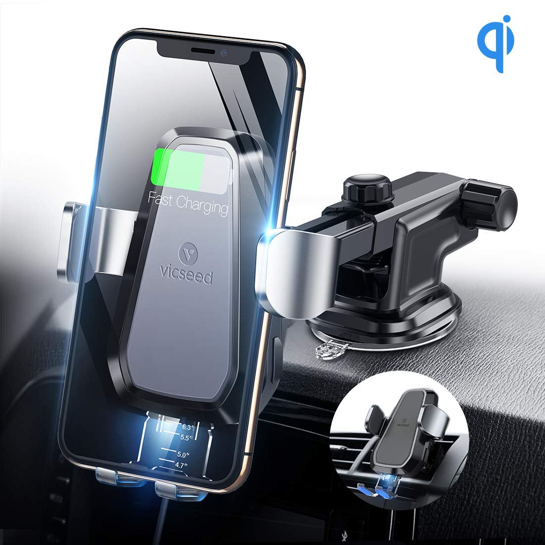 VICSEED Qi Wireless Car Charger, 10W Fast Wireless Charging Car Mount, Auto-Clamping Wireless Car Holder Fit for iPhone 11 Max Pro Xs Max Xs Xr 8 8 Plus, Fit for Samsung Galaxy Note 9 S9 S9 Plus by VICSEED
