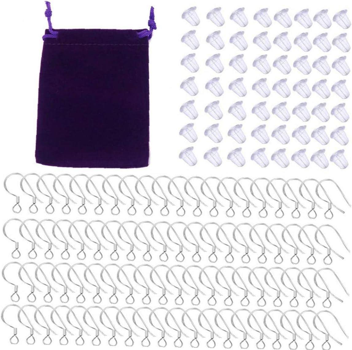 Pendiente del juego del gancho DIY joyería que hace el kit con 925 alambres del oído del pendiente de plata esterlina de goma Backs pendiente Pecezuelos Conjunto de bricolaje joyería que hace 2 Set