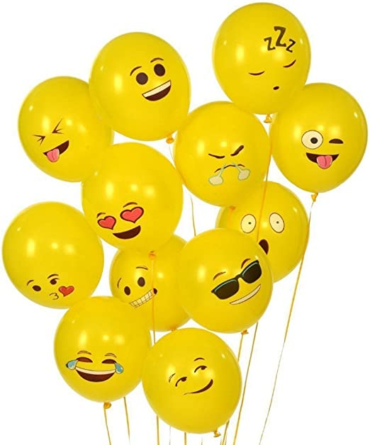 ~Birthday Party Supplies Decor YELLOW SMILEY FACE BALLOON WEIGHTS W// STRING 5