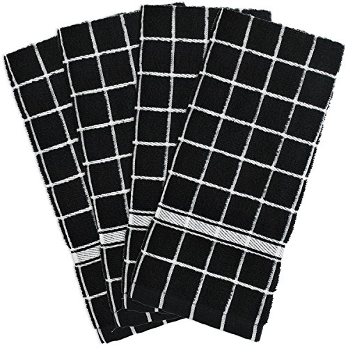 "DII Cotton Terry Windowpane Dish Towels, 16 x 26"" Set of 4, Machine Washable and Ultra Absorbent Kitchen Bar Towels-Black Check"