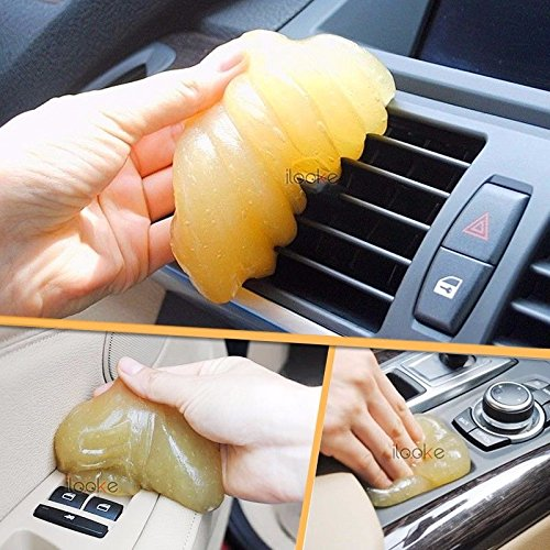 Yellow Magic Car Vent Air Outlet Storage Box Panel Door Handle Dust Glue Cleaner Tool For Audi Q5 BMW F10 VW Golf Kia Rio Toyota ()