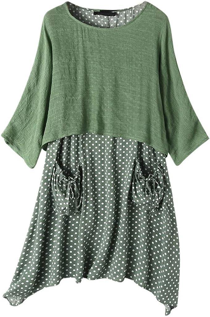 Vintage Long Dress for Women Short Sleeve Patchwork Stripe Two Piece Casual Dress
