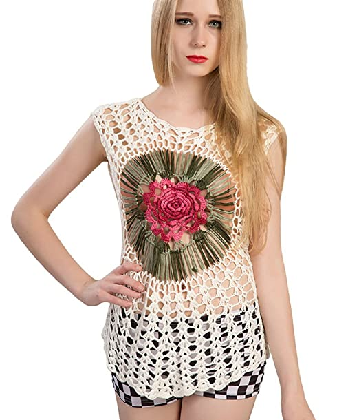 Baijiaye Mujer Blusa Tops Big Plum Ahuecar Elegante Tejer T-Shirt Camiseta Delgado Sin Mangas