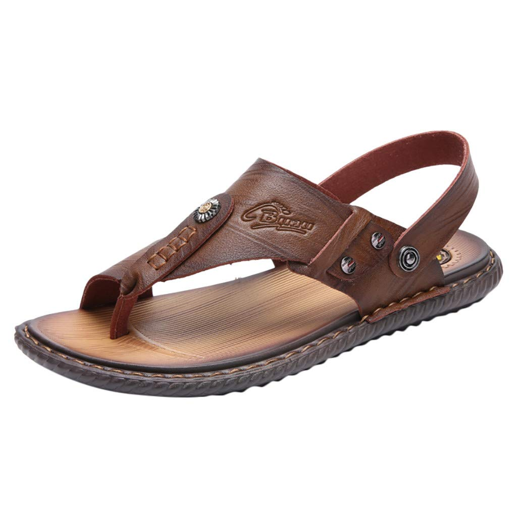 Seaintheson Men's Flat Sandals,Casual Outdoor Non-Slip Open Toes Shoes Summer Wearable Flip-Flops Slippers Khaki