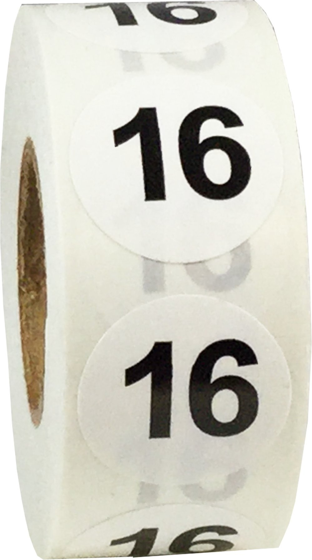 White with Black Number 16 Circle Dot Stickers, 3/4 Inch Round, 500 Labels on a Roll