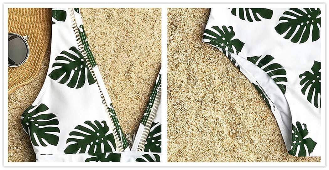 RON BILLY Women One-Piece Swimsuit Deep V Neck Back Cutout Ruffle Swimwear