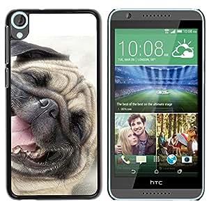 TopCaseStore / la caja del caucho duro de la cubierta de protección de la piel - Pug Happy Dog Pet Canine Smiling - HTC Desire 820