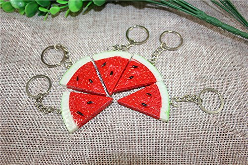 Airgoesin 20pcs Keychain Key Ring Hang Watermelon Charms for Kids Party Favors & School Carnival Prizes Gifts
