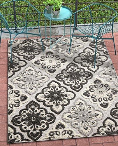 Well Woven Bodrum Grey Indoor/Outdoor Floral Panel Area Rug 8x11 (7'10