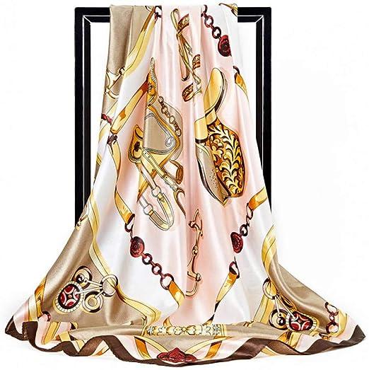 GSGJWJ Bufanda De Seda De Verano Mujeres España Cadena De Seda Impresa Chales De Lujo Foulard Head Hijab Satén Bufandas Cuadradas 90 * 90 Cm Bandana-coffee: Amazon.es: Amazon.es