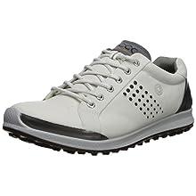 ECCO Men's Biom Hybrid 2 Hydromax Golf Shoe, White/Black, 9 M US