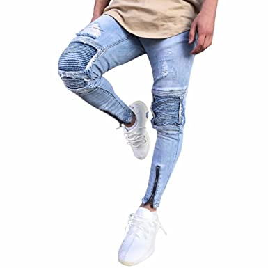 7e9dea5b4a8 Princer Mens Jeans, Ripped Destroyed Blue Slim Fit Distressed Holes  Trousers,Motorcycle Vintage Denim