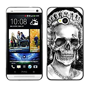 A-type Colorful Printed Hard Protective Back Case Cover Shell Skin for HTC One M7 ( God Queen Crown Skull Death England )