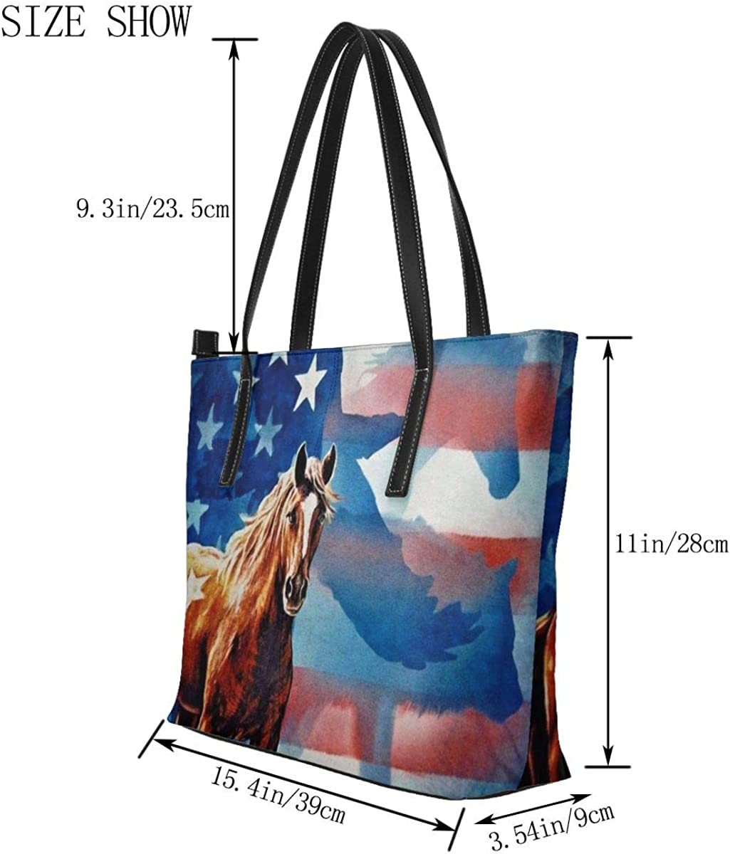 Eagle American Flag Horse Handbags For Women Fashion Ladies PU Leather Top Handle Satchel Shoulder Tote Bags-Large Capacity