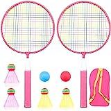 Badminton Racket for Children 1 Pair, Nylon Alloy Durable Badminton Racquet Set for Kids Indoor/Outdoor Sport Game…