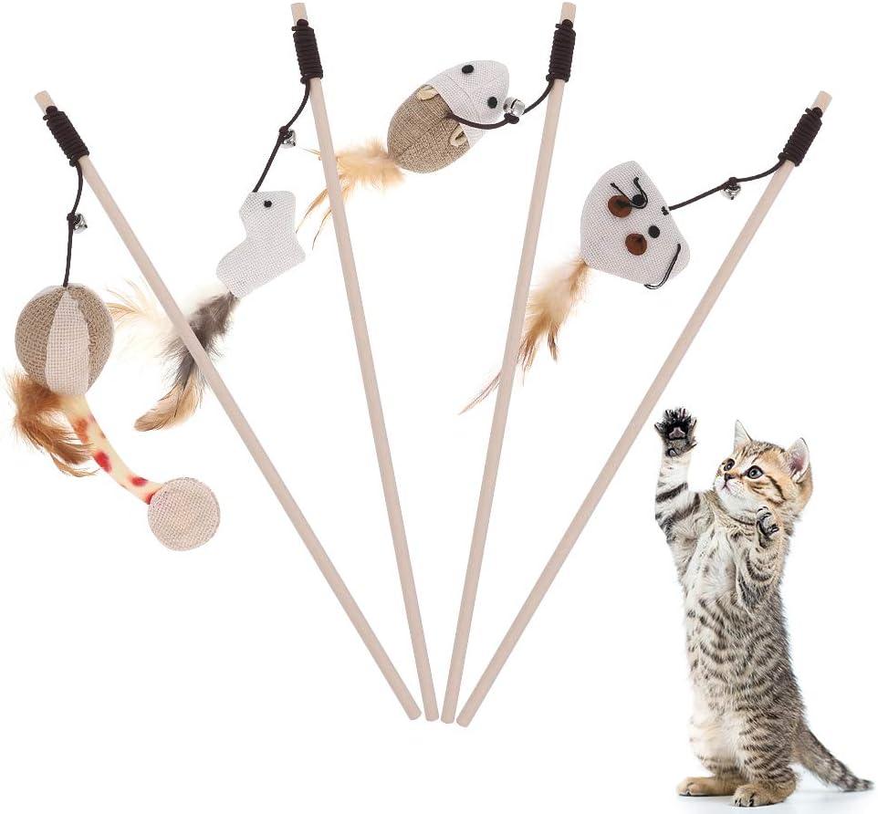 fanshiontide 4 pcs Juguete Pluma de Gato, Juguetes para Gatos, Natural de Plumas Varita Gato Juguete con Pluma,Juguete de Gatos Interactivo para Ejercitar Gatos(Beige)