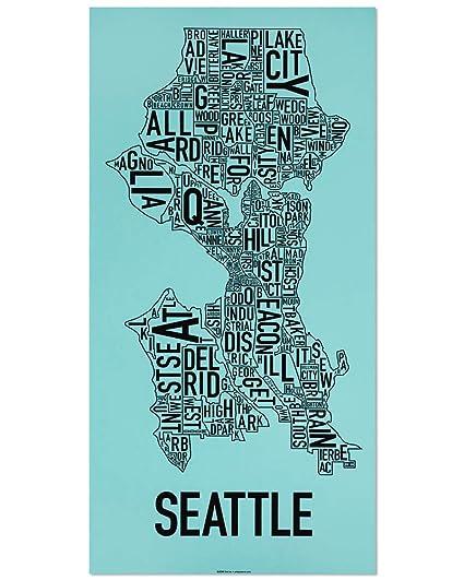 Amazon Com Ork Posters Seattle Neighborhoods Map Art Screen Print