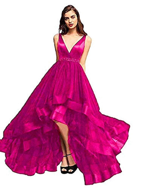 Hot Pink Marirobe Women's High Low V Neck Evening Dress Sleeveless Prom Gown