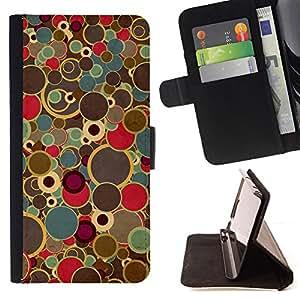 BullDog Case - FOR/Samsung Galaxy S3 Mini I8190Samsung Galaxy S3 Mini I8190 / - / retro art painting dots spots colors vintage /- Monedero de cuero de la PU Llevar cubierta de la caja con el ID Credit Card Slots Flip funda de cuer