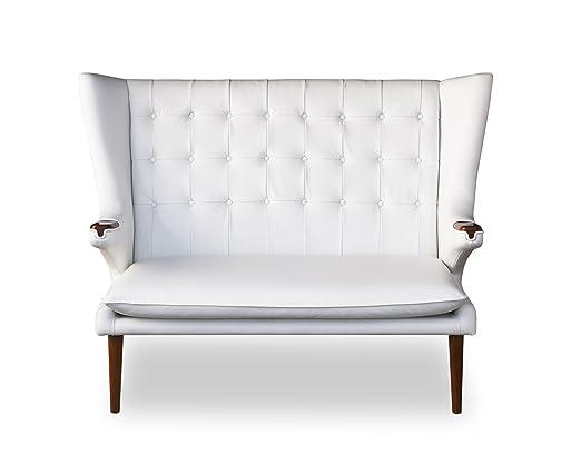 Elegante highback Lounge Love Seat sofá nogal piel ...