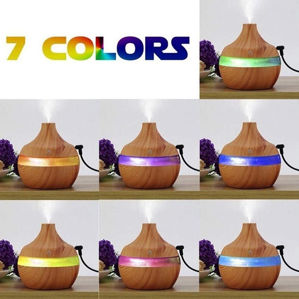 Eletric Wood Grain Ultrasonic Essential Oil Diffuser Cool Moisture Aroma Humidifier Electric Air Freshener with 7 Color Changing Nightlights for Home & Ofiice Light Wood by BleuMoo (Image #2)