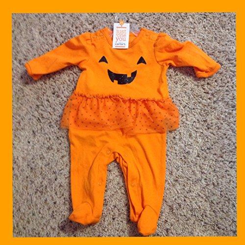 Carter's Just One You Baby Girls' Halloween Pumpkin Tutu Sleep N' Play- Orange (3 Months) ()