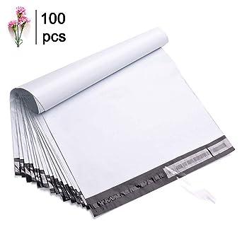 Wanxida – Lote de 100 bolsas de envío de plástico para envíos postales, 25 cm x 35 cm, blanco, 100