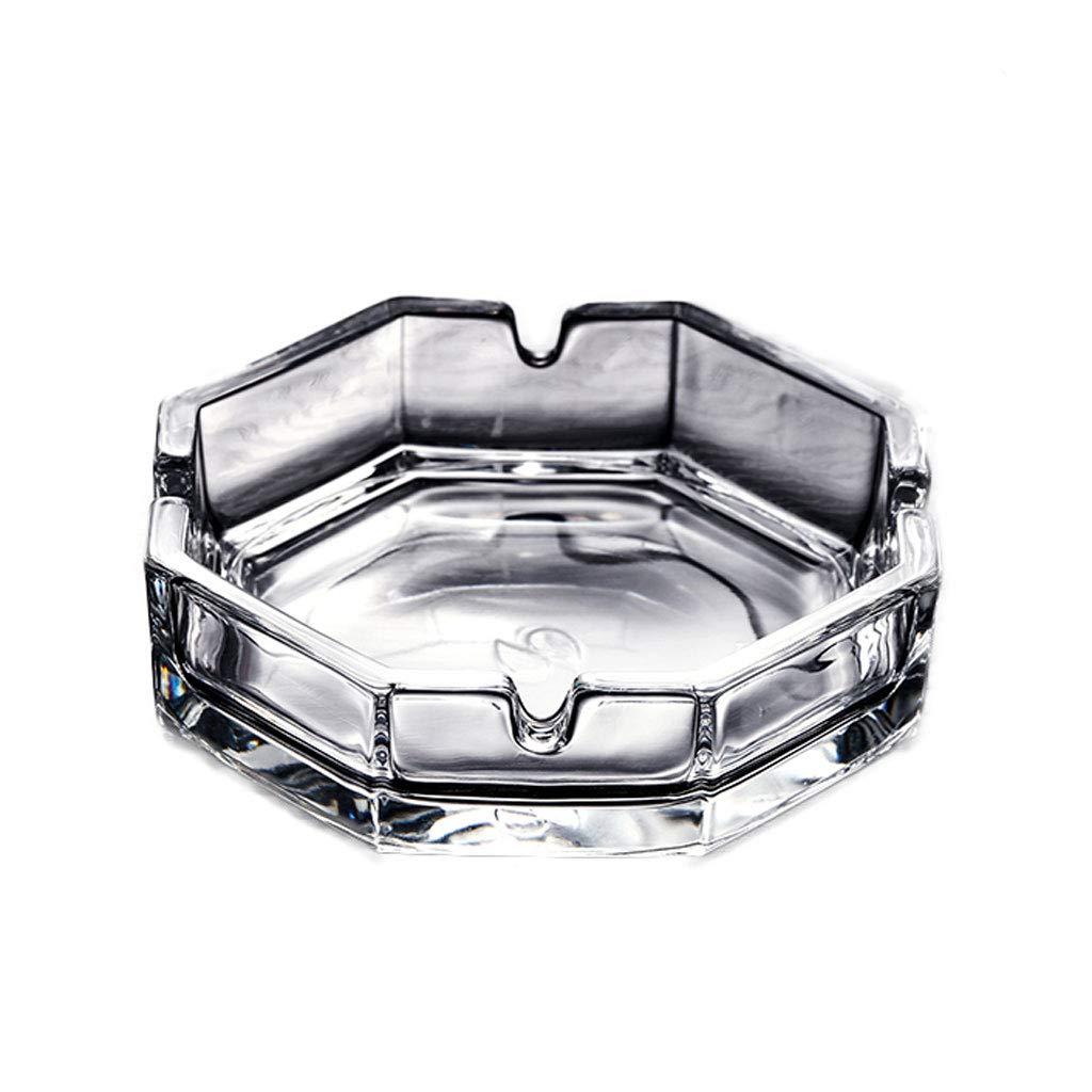 ZDD Lead-Free Glass Ashtray/Creative Personality Home Practical Ashtray/Decorative Ornaments Gift Transparent (ø10.9cm H3.3cm)