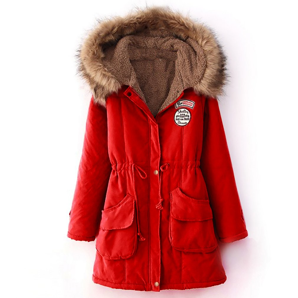 Blivener Women Warm Winter Cotton Fleece Lined Parka Faux Fur Hooded Jacket Coat CJX027