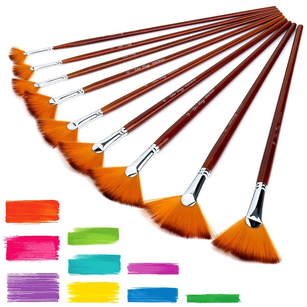 COMEMAKA 9 Pcs Fan Brushes,Artist Fan Paint Brushes Soft Anti-Shedding Nylon Hair Wood Long Handle Paint Brush Set for Acrylic Watercolour Oil Painting   B07KPHRTC6
