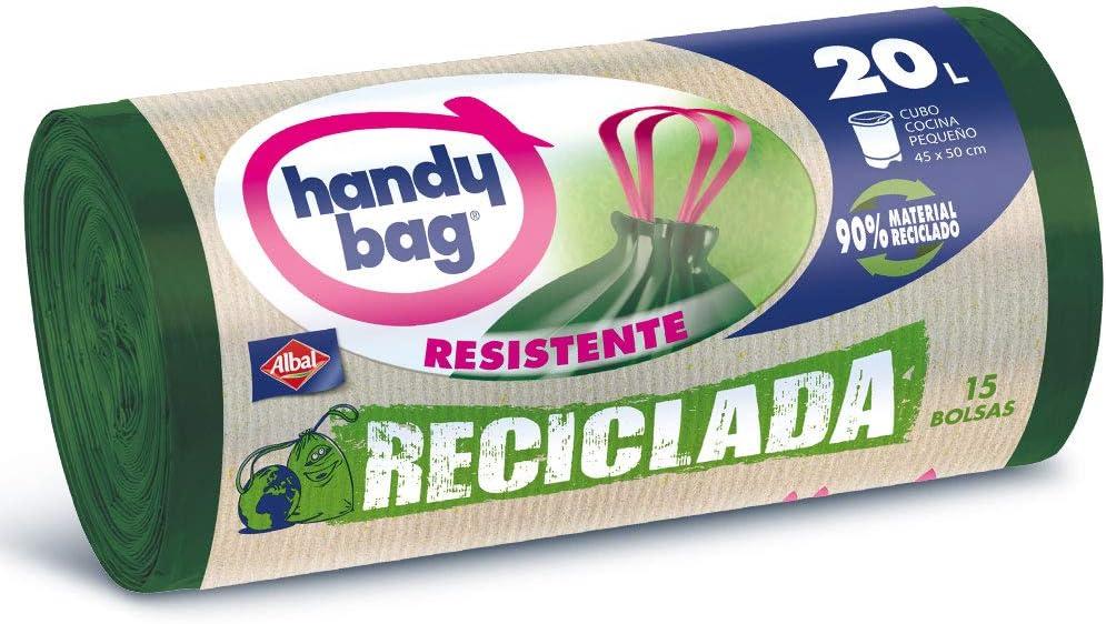 Handy Bag Bolsas de Basura 20L, 90% Reciclado, Extra Resistentes, 15 Bolsas