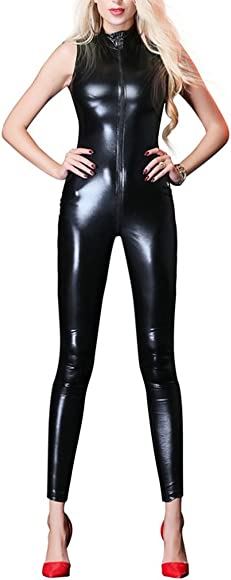 Latex Catsuit Black Open Bust Bodysuit Women Shiny Costume Crotchless Jumpsuit