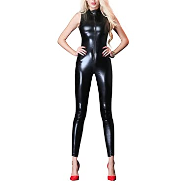 2db66ada44 Women Wet Look Jumpsuit Zipper Front Catsuit Open Crotch Lingerie Tight  Bodysuit Sleeveless Erotic Faux Leather Shiny Fetish Costume Crotchless  Nightwear ...