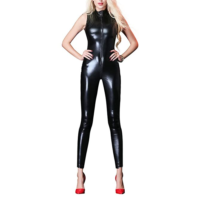 Women Wet Look Jumpsuit Zipper Front Catsuit Open Crotch Lingerie Tight  Bodysuit Sleeveless Erotic Faux Leather Shiny Fetish Costume Crotchless  Nightwear ...