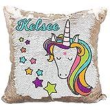 Personalized Mermaid Reversible Sequin Pillow, Custom Unicorn Stars Sequin Pillow (White/Rose-Gold)