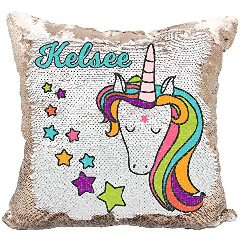Personalized Mermaid Reversible Sequin Pillow, Custom Unicorn Stars Sequin Pillow (White/Rose-Gold) by VeraFide