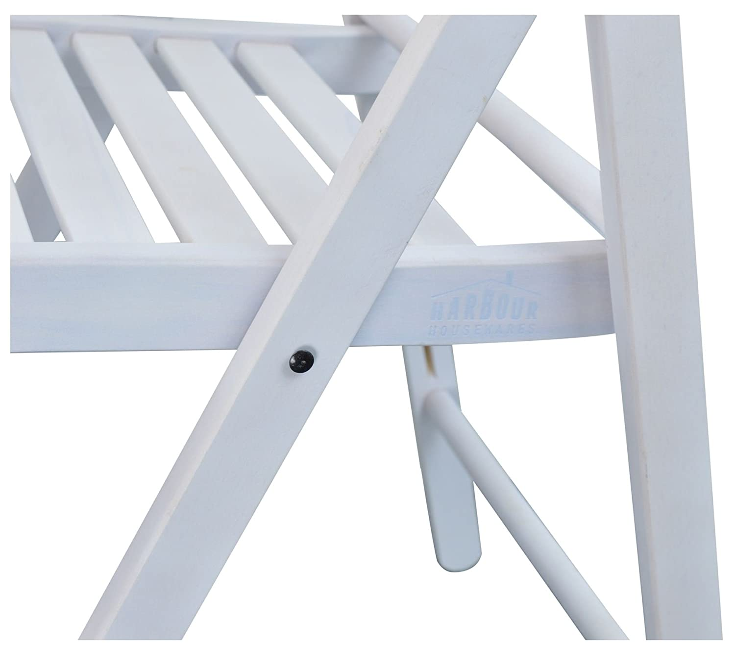 Harbour Housewares Wooden Folding Chairs Pack of 4 White Wood Colour