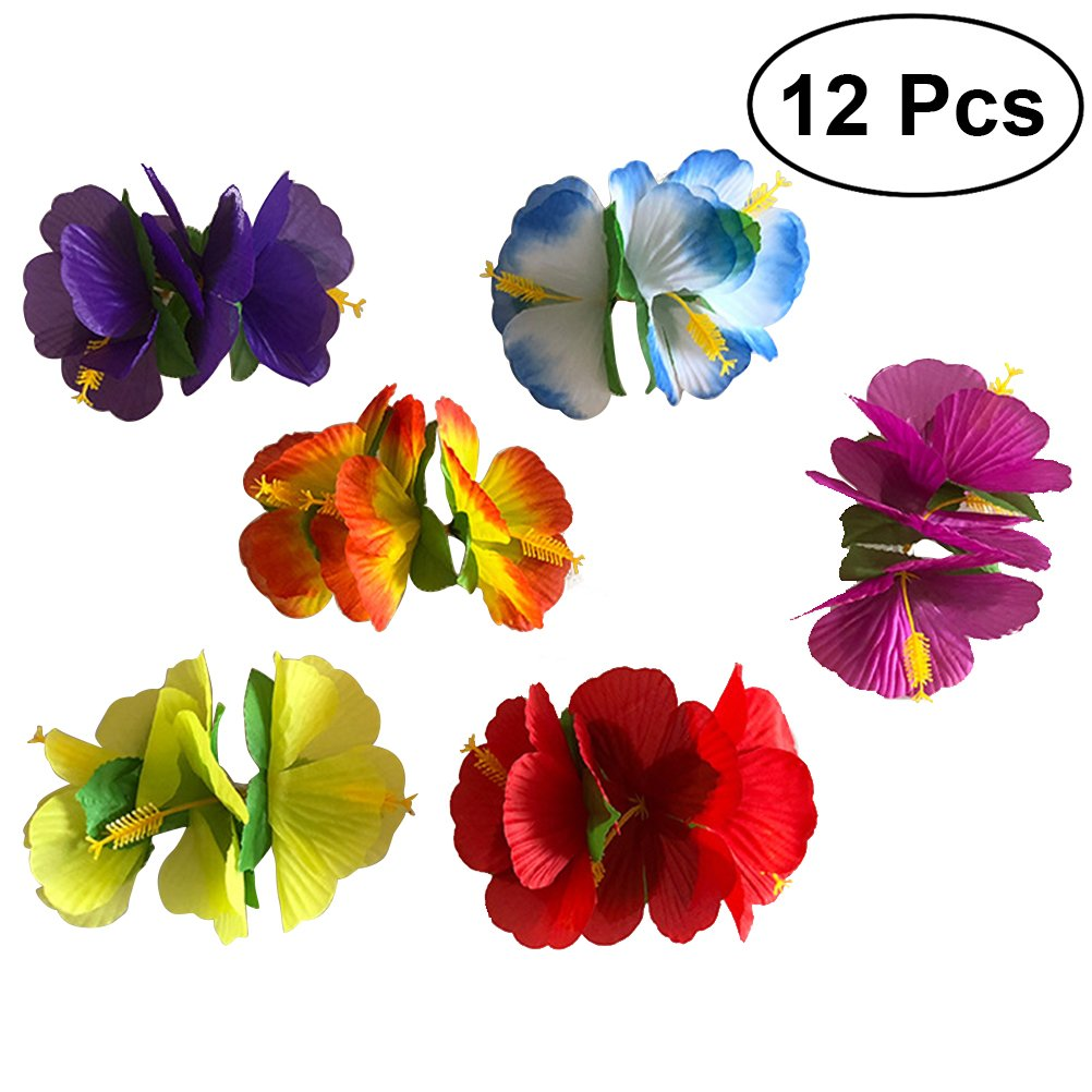 OULII 12 unids Hawaiian Flowers Hair Clips Barrette Nupcial Tropical Beach Wedding Hibiscus Flor Mujeres Partido Hairclip Horquilla Accesorios