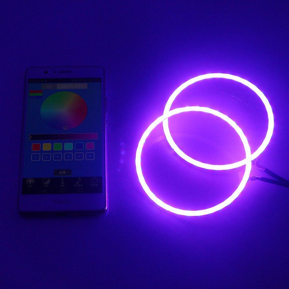 12 V DRL Grandview 1-set 90 mm Multicolore RVB LED Halo Anneaux lumi/ère COB spot Smart T/él/éphone iOS Android App contr/ôle Bluetooth de voiture Angel Eyes Cercle Bague Phare Lampe Feux de Jour